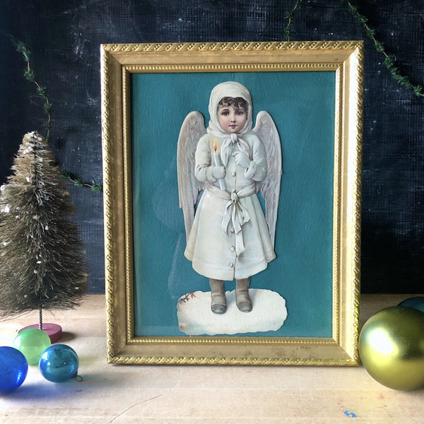 Shabby Vintage Christmas Angel Cut-Out (c.mid 20th century) - Rush Creek Vintage