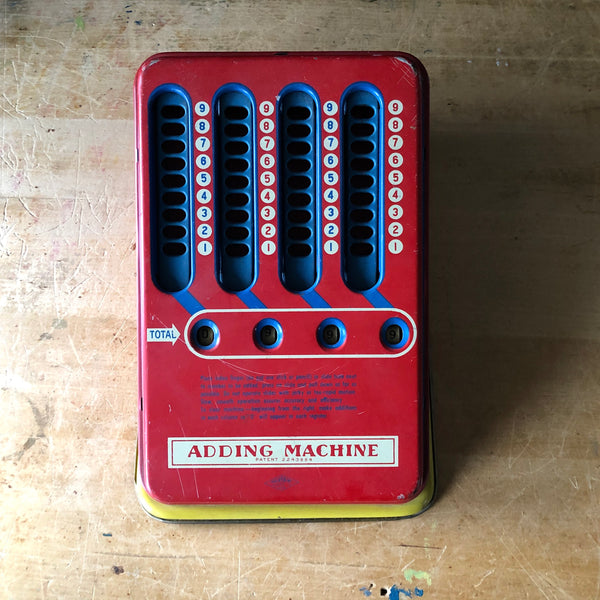 Wolverine Litho Tin Toy Adding Machine (c.1940s) - Rush Creek Vintage