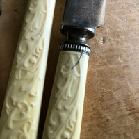 Dinner Knives with Vine Pattern Celluloid Handles (c.1900s) - Rush Creek Vintage