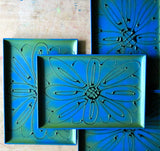 Mid Century Blue and Green Plastic Trays - Rush Creek Vintage