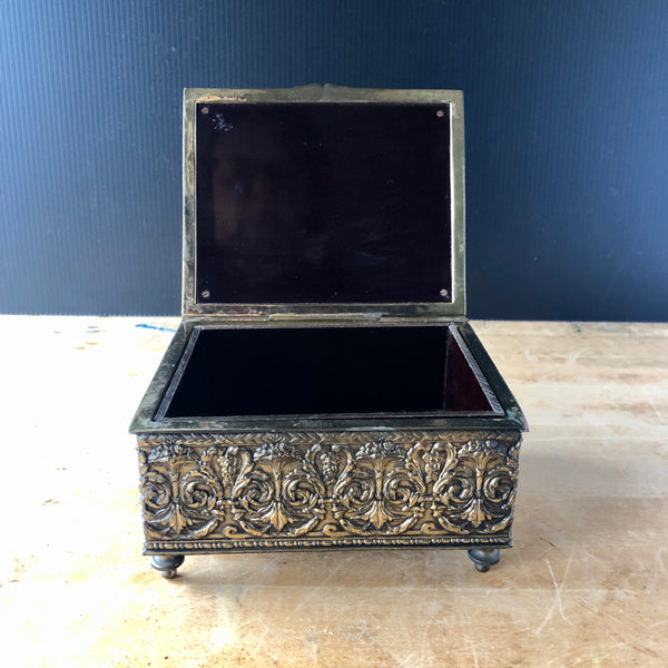 Repousse Cigarette Box by Jennings Brothers (c.1900s) - Rush Creek Vintage