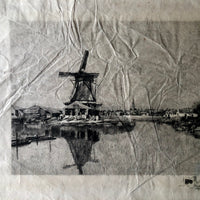 Art Etching of Dutch Port Scene on Rice Paper - Rush Creek Vintage