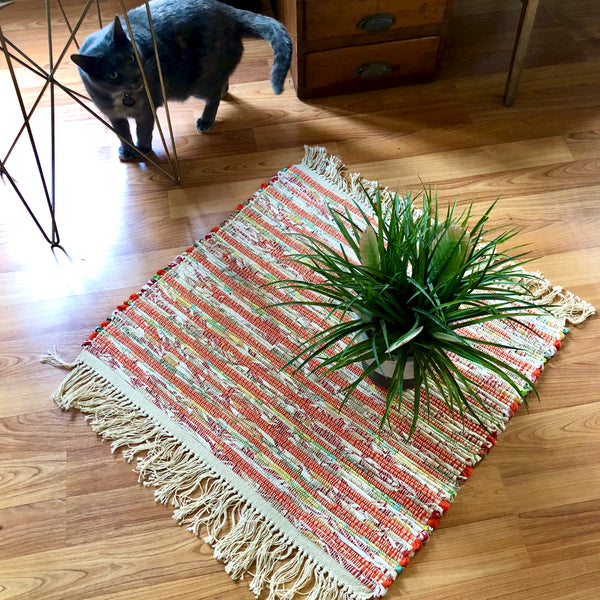 Small Vintage Striped Rag Rug