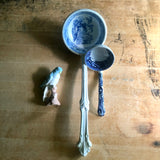 English Blue Transferware Ironstone Ladle (c.19th Century) - Rush Creek Vintage