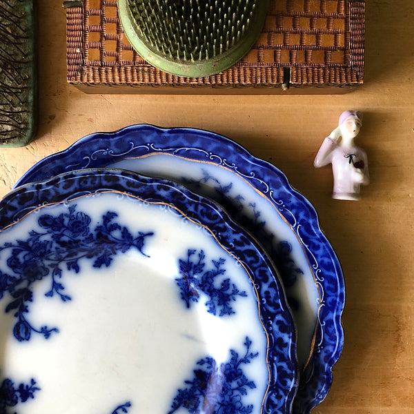 Antique Flow Blue Touraine Plates (c.1800s) - Rush Creek Vintage