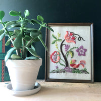Framed Floral Crewel Embroidery (c.1970s) - Rush Creek Vintage