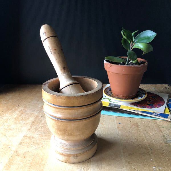 Wooden Mortar and Pestle from Italy | Vintage Kitchen Utensils - Rush Creek Vintage