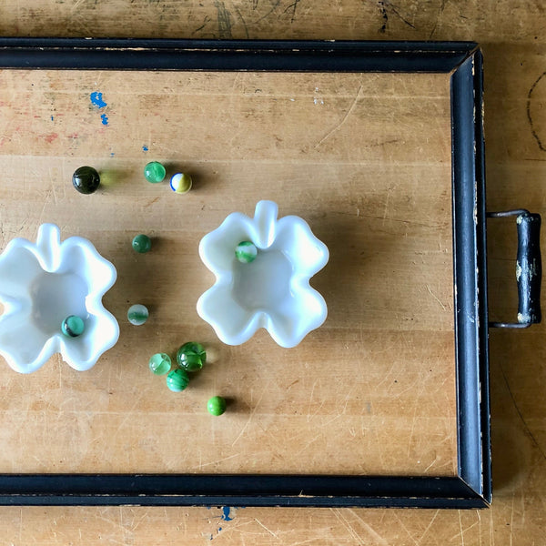 Vintage Milk Glass Four Leaf Clover Ashtrays - Rush Creek Vintage