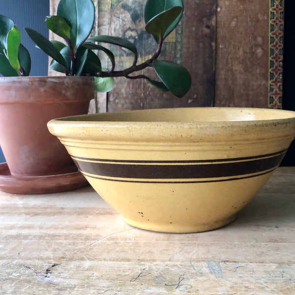 Farmhouse Pottery Striped Yellow Ware Bowl (c.1900s) - Rush Creek Vintage