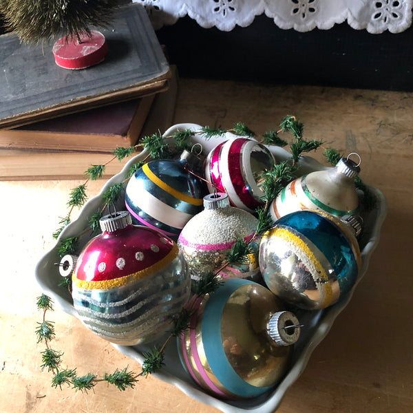 Striped Vintage Glass Ornaments (c.1940s)