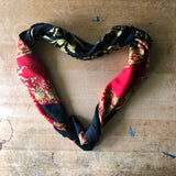 Red and Black Silk Medallion Scarf (c.1980s) - Rush Creek Vintage