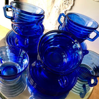 Hazel Atlas Cobalt Depression Glass Dinnerware (1930s) - Rush Creek Vintage