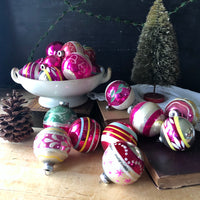 Large Set of Vintage Pink Christmas Ornaments (c.1950s) - Rush Creek Vintage