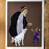 Signed Israel Serigraph of Hebrew Man and Boy (c.1974) - Rush Creek Vintage