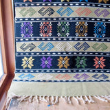 Vintage Southwestern Green and Black Wool Rug - Rush Creek Vintage