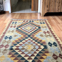 Vintage Turkish Geometric Wool Rug  (c.1980s) - Rush Creek Vintage