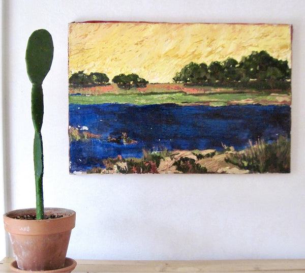Vintage Oil Painting of Lake Scene on Canvas - Rush Creek Vintage
