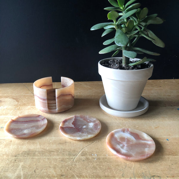Vintage Mexican Onyx Coaster Set - Rush Creek Vintage