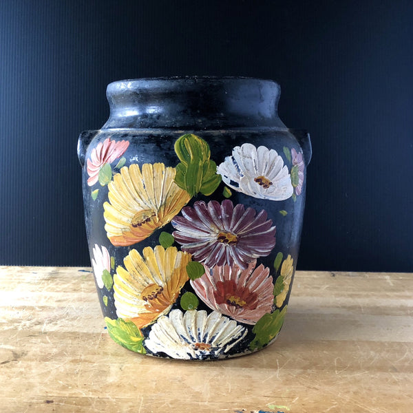 Vintage Black Floral Ransburg Cookie Jar (c.1940s) - Rush Creek Vintage