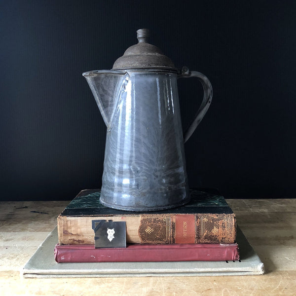 Primitive Grey Enamelware Coffee Pot - Rush Creek Vintage