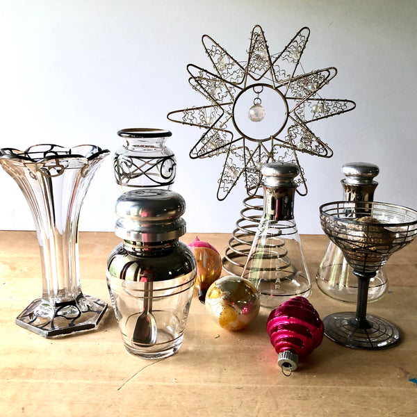 Silver Deco Style Glass Collection (c.1940s) - Rush Creek Vintage