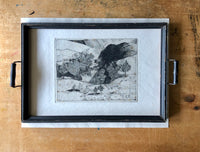 Vintage Art Etching 'Landscape with 5 Cats' by Claude Saucy (c.1900s) - Rush Creek Vintage