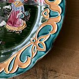 Antique Majolica Plate with Dutch Girl and Geese (c.1800s) - Rush Creek Vintage