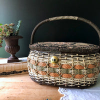 Wicker Sewing Basket with Removable Tray (c.1970s) - Rush Creek Vintage