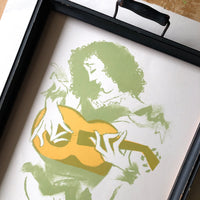 Mid Century Lithograph Print of Woman Playing Guitar - Rush Creek Vintage