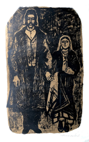 Vintage Art Lithograph of Man and Woman, (c.1961) - Rush Creek Vintage