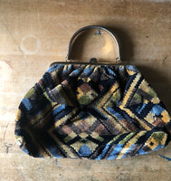 Vintage Woven Carpet Handbag (1960s) - Rush Creek Vintage