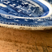 Extra Large Blue Willow Transferware Meat Platter (c.1800s) - Rush Creek Vintage