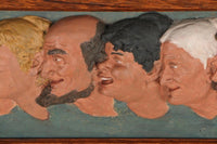 Framed Chalkware Folk Art Sculpture 'It Is To Laugh' (c.1900s) - Rush Creek Vintage