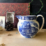 Antique Wedgewood Blue Transferware Pitcher (c.1800s) - Rush Creek Vintage