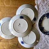 English Antique Flow Blue Dessert Plates, Set of 6 (c.1800s) - Rush Creek Vintage