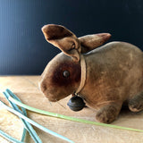 Early Steiff Velvet Baby Rattle Rabbit (c.1905) - Rush Creek Vintage