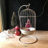 Antique Birdcage with Tabletop Stand (c.1900s) - Rush Creek Vintage
