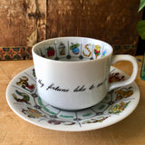 Vintage Fortune Teller's Astrology Tea Cup and Saucer (c.1970s) - Rush Creek Vintage