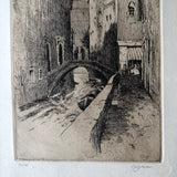 Vintage Etching of Venice Canal by Dan Graves (c.1970) - Rush Creek Vintage