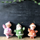 Vintage Santa and Mrs. Claus Flocked Christmas Ornaments (c.1960s) - Rush Creek Vintage