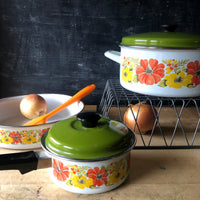 Retro Floral Enamel Cookware Set (c.1970s) - Rush Creek Vintage