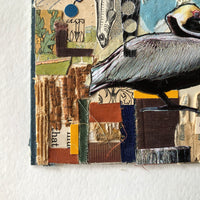 Old Book Mixed Media Collage, 'Pelican Life' - Rush Creek Vintage