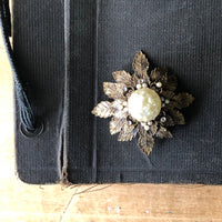 Victorian Gold Tone Brooches with Faux Pearl Accents - Rush Creek Vintage