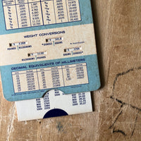 Vintage Slide Chart for Metric to English Conversions - Rush Creek Vintage