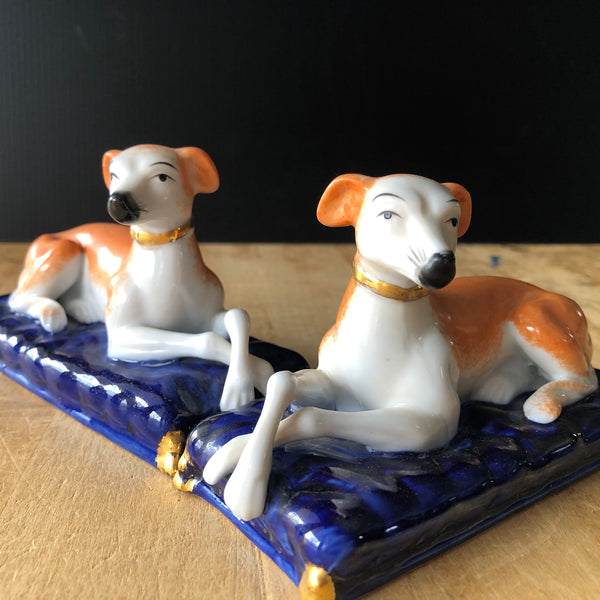 Pair of Vintage Ceramic Greyhound Dog Figurines - Rush Creek Vintage