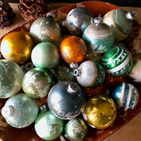Large Group of Sea Glass Vintage Christmas Ornaments (c.1950s) - Rush Creek Vintage