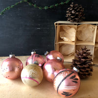 Shabby Pink Shiny Brite Ornaments with Glitter Design (c.1950s) - Rush Creek Vintage