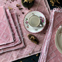 Shabby Pink Embroidered Table Linen Set (c.1960s) - Rush Creek Vintage