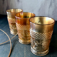 Antique Marigold Carnival Glass Tumblers, Set of Five (c.1900s) - Rush Creek Vintage
