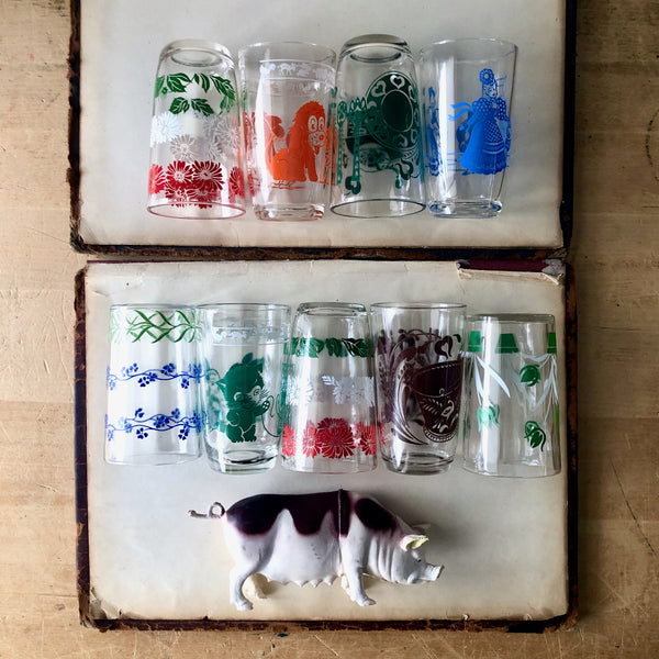 Vintage Swanky Swig Juice Glasses, Set of Nine (c.1950s) - Rush Creek Vintage